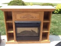 Electric Fireplace with Hardwood Mantel and Bookcases