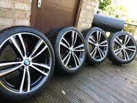 "Genuine BMW 3 4 Series 19"" 442 M Sport Alloy Wheels & Tyres F30 F31 F32 F33 F34 F36 E90 E92 Z4 DC Bl"