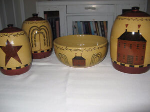 Farmhouse Kitchen Canister Set & Matching Fruit Bowl