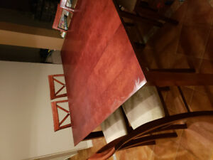 Bar height wooden table and chairs