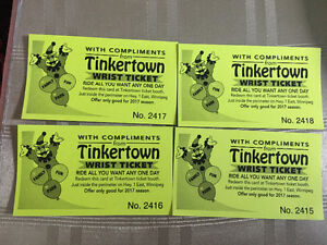 4 tinker town wristband tickets