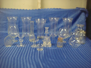 Clear Glass Home Decor Lot Candle Holders , Lamp Globes & More