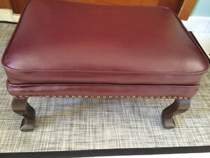 Genuine leather footstool/ottoman