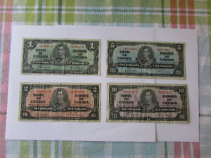 set of four 1937 Bank of Canada Notes