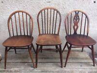 3 x Vintage Odd Ercol Hoop Back Chairs