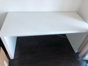 Modern IKEA white MALM desk with pull-out panel