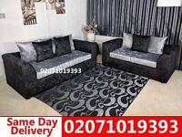 Silver/Black Crushed Velvet 3+2 Sofa--Order Now!