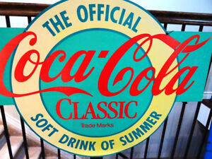 COCA COLA CLASSIC advertising SIGN 2 sided 1980s STORE DISPLAY