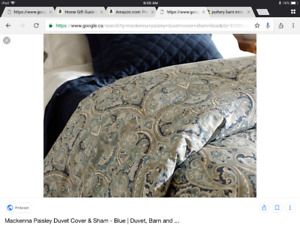 Like New Pottery Barn Queen McKenna Paisley Duvet Cover w Shams