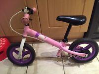 Girls balance bike pink