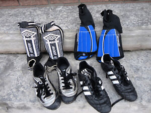 Set of Youth Soccer Shoes and Shin Pads Size 6 & 71/2 Youth