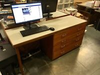 2x mid century inspired desks with Formica tops