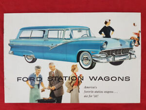 1956 FORD COUNTRY SEDAN SQUIRE STATION WAGON Sales Brochure NOS