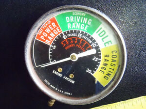 ORIGINAL VINTAGE GAS MILEAGE INDICATOR VACUUM GAUGE