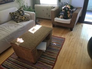 $200 OBO - Rattan chair and coffee table