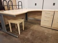Curved office desk with fitted pedestal