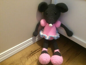 Hand crocheted ballerina mouse