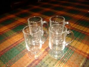 Set of Etched Vintage Cornflower Irish Coffee Mugs