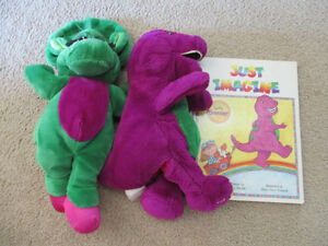 Barney and Baby Bop plush puppets and book Kitchener / Waterloo Kitchener Area image 1
