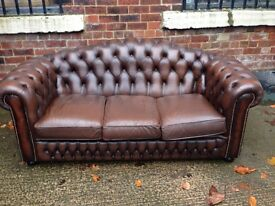 Brown Chesterfield Leather 3 Seater Sofa - 2 Seater Avail - UK Delivery