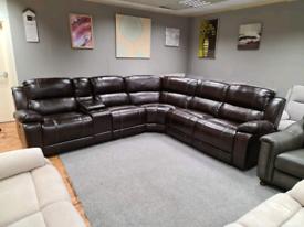 Brand new Corner sofa Genuine Leather 3 power recliner
