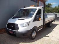 £ 78 A WEEK - 2014 64 REG FORD TRANSIT 2.2 EXTRA LWB DROPSIDE TRUCK WITH T LIFT