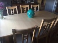 Beech extendable dining table & 6 chairs