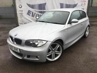 2007 BMW 1 SERIES 116I M SPORT 3 DOOR 18 INCH ALLOY WHEELS PARTIAL BLACK LEATHER