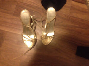 Gold Le Chateau strapped heels