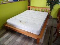 """20% OFF SELECTED ITEMS!! Low 4 ft 6"""" Double Pine Bed Frame & Mattress - Can Deliver For £19"""