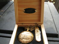 Gold Plated Truckers Pocket Watch with Wooden Box