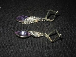 white gold drop earrings with amethyst stones