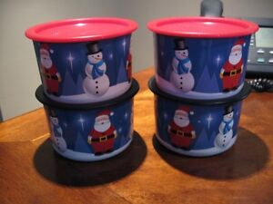 4  Two Cup New Tupperware Christmas Cannisters 2 extra seals