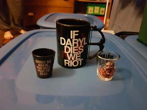Walking dead coffee mug and shot glasses