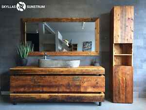 COMPLETE BATHROOM VANITY SET MADE OF RECYCLED WOOD