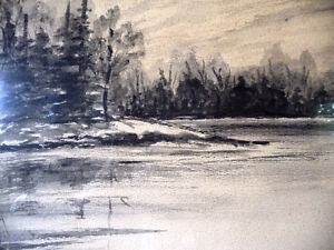 "Original Northern Landscape Watercolor by K.Rooney  ""Shoreline"" Stratford Kitchener Area image 8"