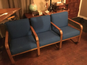 Custom handmade solid oak couch and chairs set