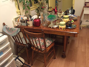 Classic solid wood dining table and chairs