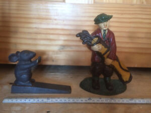 2 Vintage cast iron Mouse & Golfer door stops