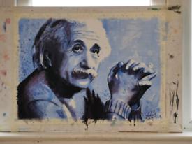 Watercolour painting of Albert Einstein