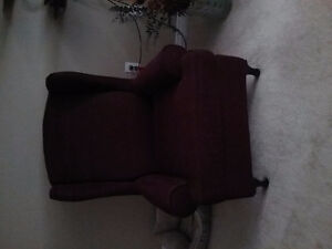 Burgundy wing chair