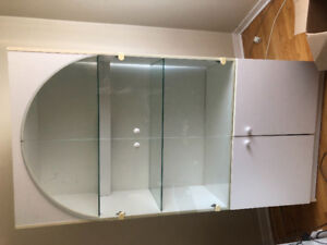 White cabinet with glass doors