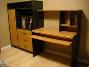 Desk with twin Bed Set 5 pieces