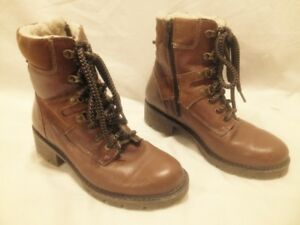 Almost New College Tan Leather  Wool Lined Combat Style Boots 7M