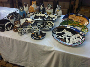 CAT CERAMIC VASES AND PLATES  X-MAS GIFTS