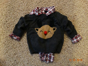 6 month old Boy Plaid Christmas Onsie and Reindeer Sweater