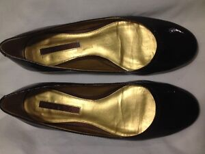 Ladies Dark Brown Patent Leather Gold Heeled Bandolino Shoes