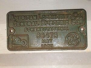 Wanted: Railroad locomotive builder plate.