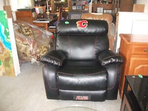 Calgary Flames Black leather rocker/recliner for sale