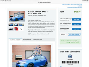 VW roof carrier bars and 2 bike carriers.